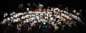 L'orchestre au complet lors d'une répétition au Parnasse de Mimizan.